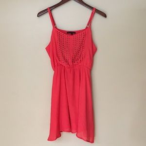 Lucca Couture Coral Red Studded Dress | Medium
